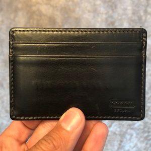 Men's Coach black leather card case